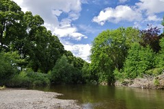 Between tree lined banks (Sundornvic) Tags: river severn water gravel banks trees sky blue clouds white peaceful fishing