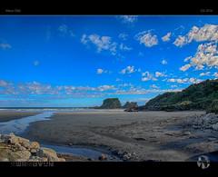 Wall Island Blues (tomraven) Tags: wallisland island rocks coast coastal blues clouds sky bluesky tomraven aravenimage q32016 nikon d80 stream beach westcoast nz