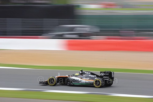 Sergio Perez qualifying for the 2016 British Grand Prix