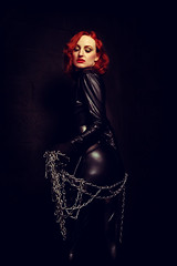 Back in the dark place (Szmytke) Tags: portrait de scotland chains model redhead gloves anita spandex catsuit bauch anitadebauch