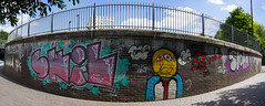 The Cut to the Thames August 2016 (3 of 42) (johnlinford) Tags: canon canonefs1022 canoneos7d docklands graffiti limehouse london uk urban panorama landscape