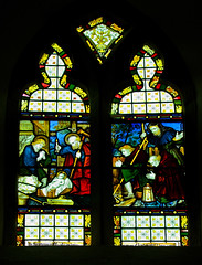 Much Marcle Herefordshire - Chancel - Nativity Window (David Cronin) Tags: muchmarcle herefordshire bartholomew saintbartholomew stained glass stainedglass kempe cekempe nativity shepherds bagpipes