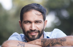 Stranger #10 (georgerani532) Tags: 100strangers portrait man tattoos indian mumbai colour bokeh naturallight 85mm canon70d