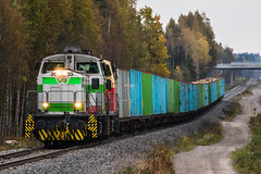 Freight train T53385 (ArtDvU) Tags: vr finnishrailways diesel locomotive dv12 freight train t53385 finland autumn fall track