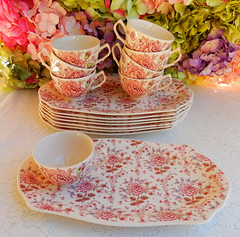 Johnson Brothers Cups Plates Snack Sets ~ Rose Chintz ~ Pink (Donna's Collectables) Tags: johnson brothers cups plates snack sets ~ rose chintz pink