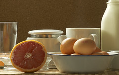 Fresh Squeezed . . . (Shutterbuglette) Tags: life morning food kitchen morninglight still meal eggs citrus culinary protein fresheggs grapefruitjuice freerun healthydiet rubygrapefruit shutterbuglette freshsqueezedcitrusjuice