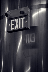 Exit Front and Back (Revisited) (JeffStewartPhotos) Tags: blackandwhite bw toronto ontario canada beer sign blackwhite factory brewery signage photowalk exit toned exitsign vats leaside eastyork torontophotowalk topw exitsignage amsterdambrewery amsterdambrewingcompany torontophotowalks amsterdambrewingco theothersideofleaside topwosl
