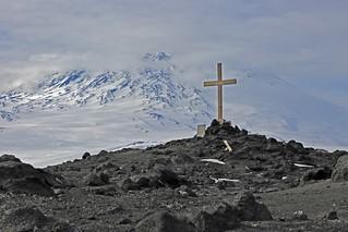 Memorial Cross Wind Vane Hill Cape Evans Mt Erebus Ross Island Antarctica