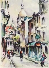 1950s Paris -- Montmartre (SandraNestle) Tags: paris france modern painting 1950s midcentury oldpostcard vintageart sandranestle