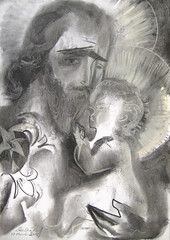 Saint Joseph & The Infant Christ 2015  by Stephen B Whatley (Stephen B. Whatley) Tags: flowers light baby art love beard hope hands heaven catholic peace child christ drawing contemporaryart modernart faith prayer jesus stjoseph christian lilies expressionism embrace bearded halos charcoaldrawing saintjoseph jesuschrist holyweek eternallife blueribbonwinner whatley infantjesus catholicart abigfave bwartaward goldstaraward stephenbwhatley artofimages artiststephenbwhatley stephenwhatley toweroflondonartist stephenbeckettwhatley josephspouseofmary