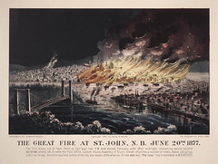 The Great Fire at St. John, New Brunswick, June 20th 1877 (Toronto Public Library Special Collections) Tags: bridge canada buildings boats fire harbour smoke ships flames newbrunswick disasters saintjohn greatfire currierives june20th1877