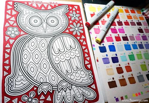 Kuna Mola Owl Coloring Page By Thaneeya McArdle