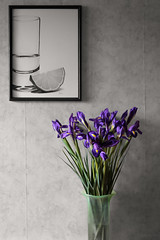 Irises (notonlyevil) Tags: flowers iris blackandwhite stilllife plants russia 2015 цветы натюрморт ваза растения ирисы canoneos6d sigmaaf2470mmf28ifexdghsm