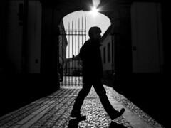 Through the light | CinematicStreet-Art (Markus Immerheiser) Tags: door light blackandwhite sun man licht blackwhite gate shadows mann tor sonne mainz schatten tr schwarzweis cinematicstreetart