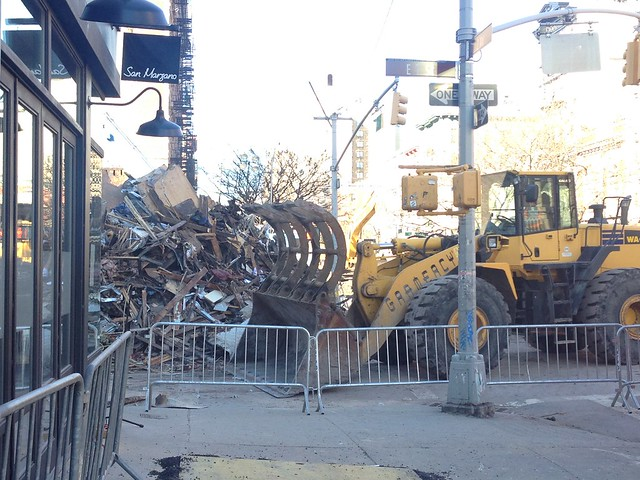 Clean up efforts continue at the site of the East Village building explosion Sunday afternoon. Photo by Megan Jamerson