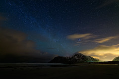 Arctic Sky (Waldemar*) Tags: beach nature norway clouds stars landscape islands coast nikon scenery scenic galaxy coastline nightsky scandinavia lofoten skagen archipelago lightpollution milkyway nordland leknes norwegiansea skagsanden rokinon14mmf28 d800e 68n 68degreesnorth 68parallelnorth 68north