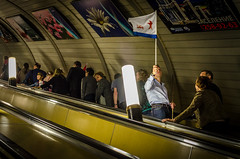 Victory Day Moscow Underground (Carl Dyer) Tags: metro russia flag victory