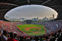 Doosan Bears Game, Seoul (Johnny Silvercloud) Tags: people sports canon army athletic uniform baseball games korea structure business americans soldiers daytime athletes crowds commercialism activities koreans baseballgame individuals doosan doosanbears canon5dmarkiii lightroom5