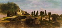 cottage on the hill -  Impressions of Second Life 827 - (It's a new Dawn, Lemon Beach (10, 194, 21)) (wuwaichun (sometimes on - sometimes off)) Tags: life travel portrait art photo artwork foto place pic sl adventure story secondlife mysterious second guide artphotography wuwaichun