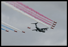 AIRBUS A400M & RED ARROWS. 1 (adriangeephotography) Tags: sport photography flying fighter display aircraft aviation military transport jet saturday sigma hampshire airshow civil planes ww2 adrian gee bomber propeller farnborough d300 2016 150600 adriangeephotography