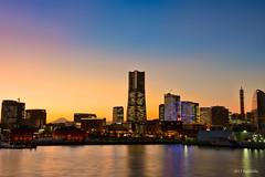 Yokohama Landmark (koshichiba) Tags: yokohama japan landscape cityscape nightscape night city sunset skyline sea harbor landmark view mtfuji fuji fujisan      red brick dsut blue    twilight daikoku nightshot