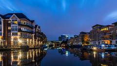 Blue Hour at Brentford Lock (JB_1984) Tags: uk longexposure england motion blur london water clouds marina river boat movement unitedkingdom houseboat mooring bluehour middlesex narrowboat brentford glaxosmithkline gsk riverbrent brentfordlock londonboroughofhounslow