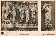 Reims Cathedral - The Smiling Angel (pepandtim) Tags: postcard old early nostalgia nostalgic 54tsa43 reims rheims cathedral cathedrale before after societe des amis de la paris rue coetlogon cortege saint nicaise facade principale principal ange au sourire bombardment bombardement
