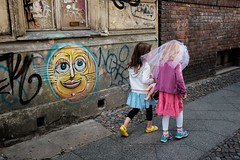 on the right path (tavekapa) Tags: rightpath sidewalk color shoes match wall graffiti friends girls wedding yellow turquoise children friendship future sun sunny shiny smile streetphotography candid fujifilm x100t berlin mitte
