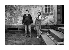 Husband and wife (Jan Dobrovsky) Tags: bw bohemia contrast countrylife countryside document grain krasnalipa leicaq north portrait rural texture village gypsies
