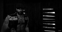 Anarchy (erikmofanui) Tags: lumipro portrait bw secondlifeportrait secondlifephotography secondlifeavatar sexyman eyecandy biker