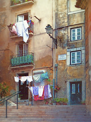 Beco De San Francisco (Artypixall) Tags: portugal lisbon alley balconies windows clotheslines streetlamp facade stairs streetscene urban faa