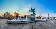 Pegasus, Korinth (Kostas Trovas) Tags: sunset panorama sun fountain port flickr pegasus greece hdr skyblue korinthos ελλαδα κορινθοσ πηγασοσ