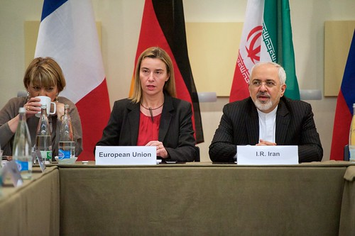 EU High Representative Mogherini Sits With Iranian Foreign Minister Zarif Before P5+1 Nations Resume Nuclear Talks in Switzerland