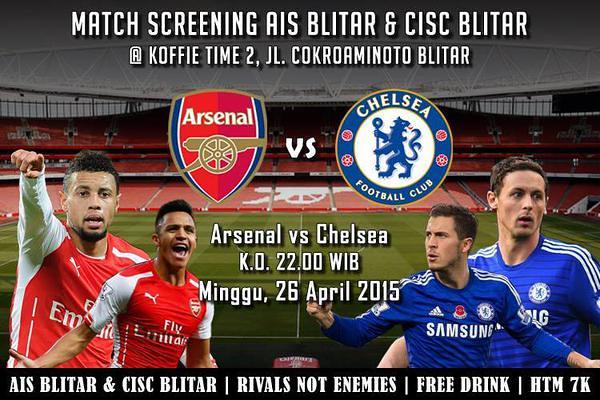 AIS Regional Blitar #AIS @AIS_BLT: #MatchScreeningAIS_BLITAR | Vs Chelsea | Hari Ini | 21:00 WIB | Koffie Time 2 | HTM: 7k | DC: Arsenal @ID_ARSENAL sfiQj39h2oy