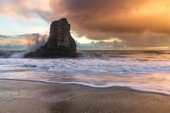 Breaking storm (Shane Venem) Tags: california sunset santacruz seascape storm beach clouds davenport breakingwave seastack thesentinel tamron1750 pentaxk5 shanevenem