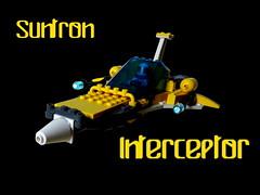 Suntron Interceptor (Harding Co.) Tags: blue white classic yellow grey wings ship lego space cockpit scifi spaceship cannons minifigure minifigures suntron