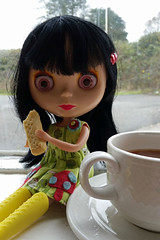 148/365 BA dunking shortbread Friday (sozzielou) Tags: cup cookie dress tea arcade biscuit button ba friday shortbread edna 365blythe