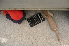 Repairing of exhaust stroke (MyBukit) Tags: road mark bosnia lorry backpacking repair vehicle breakdown hitchhiking exhaustion registration hercegovina korita gacko