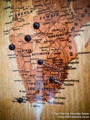 Adding Honeymoon Pins To Our Travel Map (NativePaul) Tags: africa travel vacation england holiday london southafrica honeymoon unitedkingdom map may roadtrip zimbabwe botswana namibia pinboard southernafrica 2014 travelmap sadc may2014