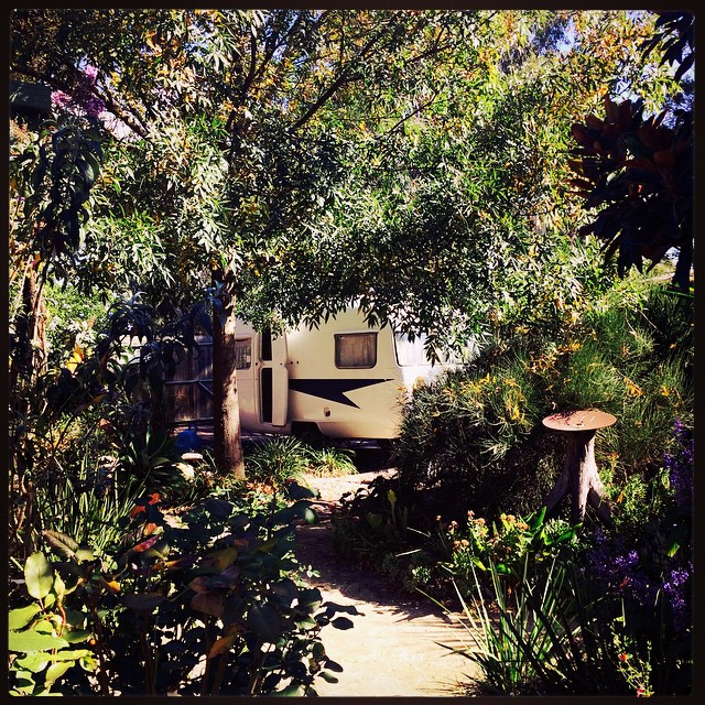 089/365 • caravan - the sweet spot • #089_2015 #sunliner #easter #camping #vintagecaravan #garden #leafy