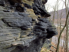 erosion at Falling Springs, PA (Hank Rogers) Tags: trees cliff nature water colors face rock stone iceage river carved interesting rocks natural flood pennsylvania unique erosion formation example pa land weathered layers blocks geology biblical ransom susquehannariver eroded weathering geological landform greatflood geologic coxton