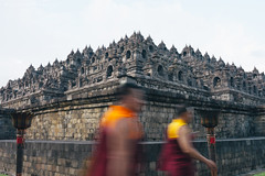 Monks Walking Around the Borobudur Temple (Thanwan Singh) Tags: travel sunset red people yellow architecture indonesia temple dawn early asia dusk walk buddha praying human monks devotion lanterns hindu tone prayers lampion magelang 2014 waisak vsco blackjuice7 thanwansingh