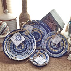 "I am planning to work on a fresh crop of baskets, trivets, and coasters for our shop this weekend.  Is there something specific you're hoping to see me add?    Let me know what's on your wish list by leaving me a comment and I will do my best to stitch it • <a style=""font-size:0.8em;"" href=""http://www.flickr.com/photos/54958436@N05/17423933531/"" target=""_blank"">View on Flickr</a>"