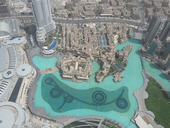 The pool and the worlds biggest mall at Dubai Mall.