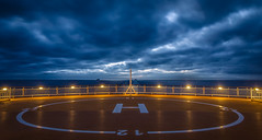 Waiting for a chopper (Mark McCaughrean) Tags: sunset oslo ferry sundeck stern kiel skagerrak helipad mscolormagic