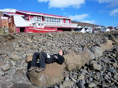 Caro sunning on a rock, Eskifjordur, Iceland (Travel writer at KristineKStevens.com) Tags: iceland eskifjordur sunbathing