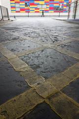 Yellow (Spannarama) Tags: uk london yellow reflections floor ground yellowline ratseyeview lowviewpoint