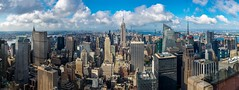 Top of the Rock - New York City Panorama (Pix-elist) Tags: new york city urban panorama building tower rock skyline clouds state top center midtown views empire highrise chrysler rockefeller metropole wolkenkratzer multirow aussichtsplattform