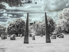 Hilly Fields Park (blackwoodse6) Tags: uk blue trees england white london clouds canon ir outdoors standingstones lewisham infrared foilage southlondon stonecircles brockley southeastlondon londonparks hillyfieldspark se13 720nm se4 canong10