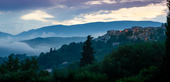Twilight, Montauroux, Provence, France (andyc246) Tags: rollinghills paysage provence france villagesperches montauroux sony a7ii twilight dusk bluelight cypresses sunset misty mistpockets lights dramatic travel landscape beautifullight